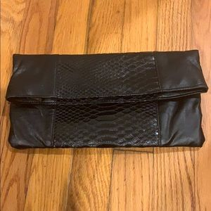 Sephora black faux leather clutch